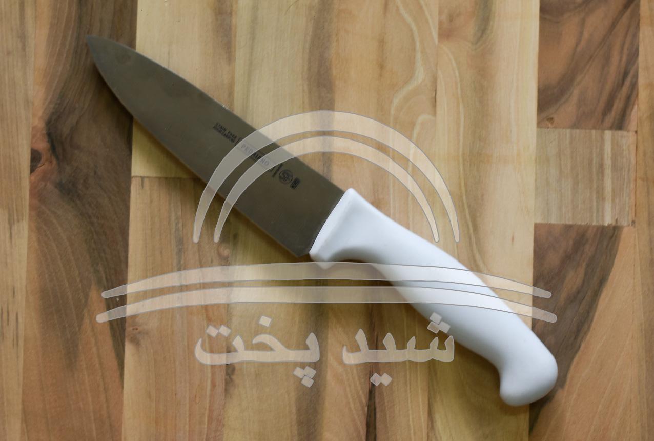 چاقو آشپزخانه قصابی pedriano (sf) دسته فایبر گلاس سفید لبه گرد